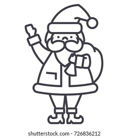 Santa Claus vector line icon. Christmas celebration sign. Santa Claus character outline illustration. Editable strokes