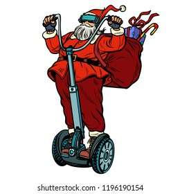 Santa Claus in VR glasses, with Christmas gifts rides an electric scooter. Virtual reality. Isolate on white background. Pop art retro vector illustration vintage kitsch
