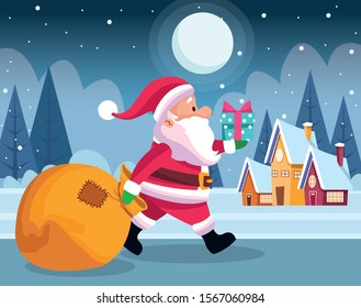 santa claus walking with gift boxes and big bag over houses and snowy night background, colorful design , vector illustration