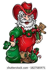 Santa Claus. Wall sticker Color, graphic, decorative portrait of Santa Claus in a cowboy hat with a bag of gifts. Digital vector drawing.