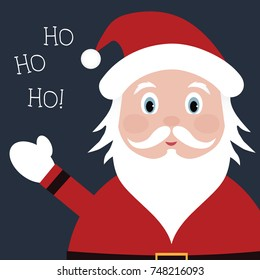 Santa Claus waving ho ho ho vector. Christmas cartoon santa character illustration.