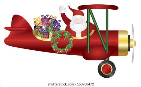Santa Claus Waving on Biplane Delivering Wrapped Presents Isolated on White Background Vector Illustration