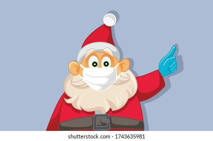 Santa Claus Wearing Medical Face Mask. Safe holidays during pandemic outbreak health crisis