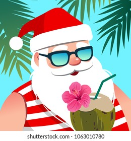 Santa Claus wearing sunglasses, with coconut drink against tropical palm trees background. Christmas and New Year holiday vacation, warm weather, beach, resort, ocean theme design element.