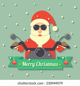 Santa Claus wearing sunglasses and riding motorcycle within Merry Christmas ribbon badge on snow background. vector.