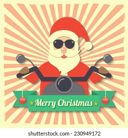 Santa Claus wearing sunglasses and riding motorcycle within Merry Christmas ribbon badge on starburst background. vector.