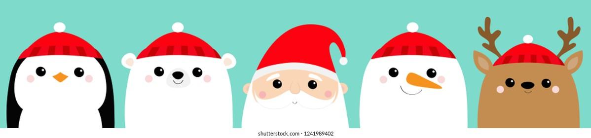 Santa Claus White polar bear Snowman Raindeer Deer Penguin bird face icon set. Merry Christmas. New Year. Cute cartoon funny kawaii baby character. Greeting card. Flat design Blue background. Vector