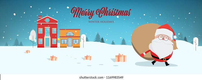 Santa claus in winter town and snowing background panorama landscape. Christmas banner web design.
