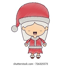 santa claus woman cartoon full body face eyes closed expression on color crayon silhouette on white background vector illustration