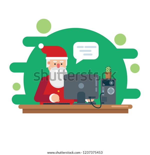 Checks By Mail >> Santa Claus Works Checks Mail On Stock Vector Royalty Free