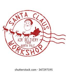 Santa Claus workshop grunge rubber stamp on white background, vector illustration