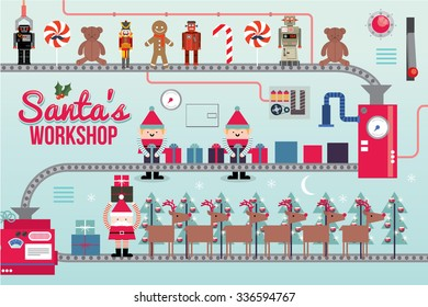 santa claus workshop vector/illustration