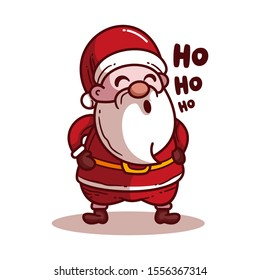 Santa Claus. Xo xo xo. Vector illustration in cartoon style. Isolated on white background. Vector image for new year's day, christmas, decoration,winter.