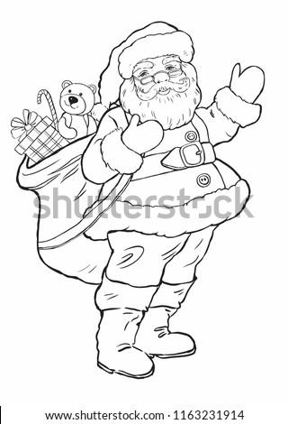 Santa Claus Coloring Page Kids Stock Vector Royalty Free