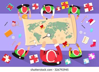 Santa Clause Christmas Elf Cartoon Character Sitting Desk World Map Concept Flat Vector Illustration