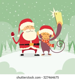 Santa Clause Christmas Monkey Cartoon Character Taking Selfie Photo On Smart Phone Flat Vector Illustration