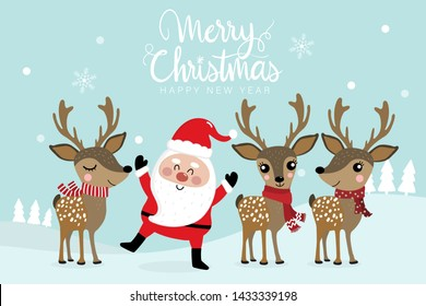 Santa Clause and cute deer in winter costume. Merry Christmas and Happy new year greeting card. Holidays cartoon character.