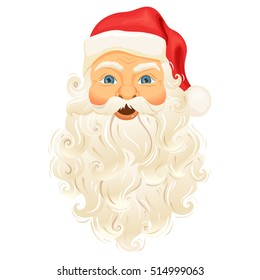 Santa Clause face with beard and hat. Cartoon Christmas character illustration isolated on white background. Cute Father Frost