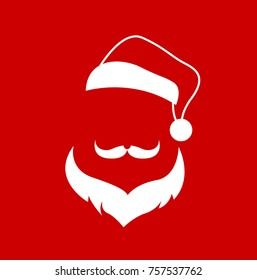 santa clause face hat and beard mustache