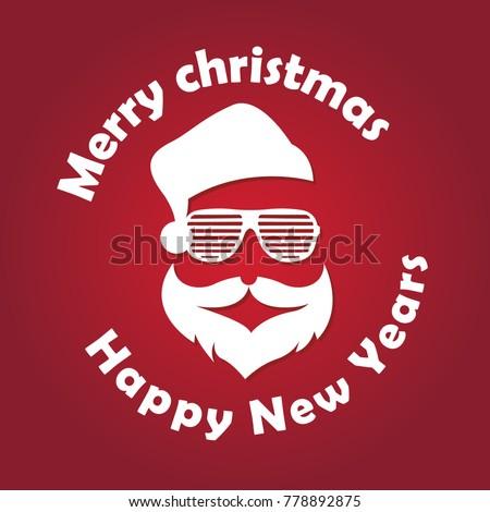 886675b52d2 Santa Clause Hat Beard Glasses Vector Stock Vector (Royalty Free ...