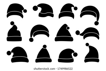 Santa Clause hat, Christmas flat silhouette set. Xmas Santa winter hats black glyph. New Year cartoon holiday traditional caps collection. Festive design element. Isolated on white vector illustration