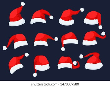 Santa Clause hats icons set vector illustration. Collection consists of festive red caps for greeting, invitation cards, web, print, banners flat style design. Xmas eve concept