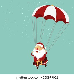 Santa clause is parachuting in the air. Christmas ornament.  Vector Illustration