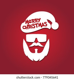 santa clause vector hat beard and glasses, christmas hipster poster for party, mask santa clause, face santa, hipster santa vector, merry christmas design silhouette, clip art background illustration