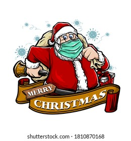 santa clause wear a masker in the pandemic viruses vector illustration