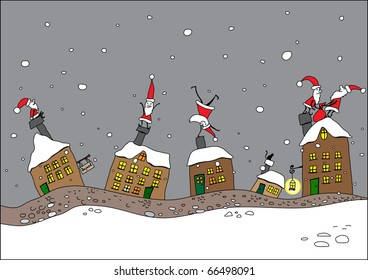 Santa Clauses in a small town - Christmas postcard