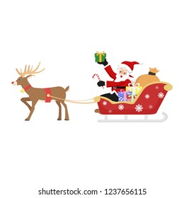 Santa Claus's reindeer pull a sleigh through the night sky to help Santa Claus deliver gifts to children on Christmas Eve.Picture isolated on white background.