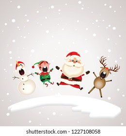 Santa Claus,Snowman,Reindeer and Elf dancing and singing Christmas carol on the north pole