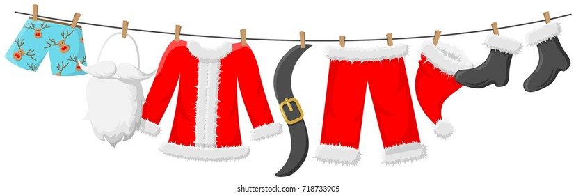Santa clothes hanging on the line