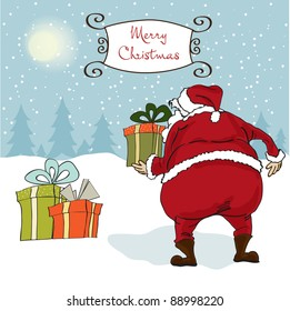 Santa coming, Christmas greeting card