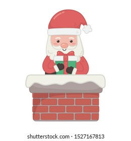 santa coming out chimney with gift decoration merry christmas vector illustration