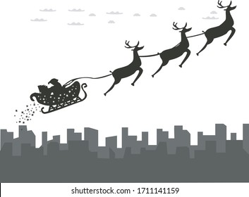 Santa is coming to town with reindeer