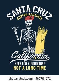 Santa cruz, CaliforniaSurfer skeleton vector illustration for t-shirt and other uses
