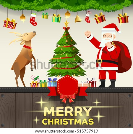 santa decorate house with gifts at christmas celebrated with joy template messagetime - When Is Christmas Celebrated