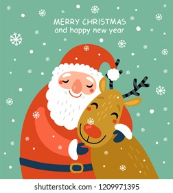 Santa and deer Christmas card