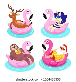 Santa, deer, sloth, unicorn with flamingo inflatable ring. Tropical Christmas. Vector illustration.