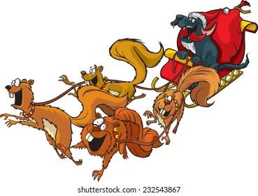 Santa Dog Cartoon Santa Dog with a squirrel sled team. Layered vector file.