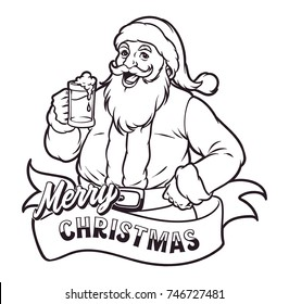 Santa Drink Beer on Happy Christmas Night Black and White Hand Drawing Style