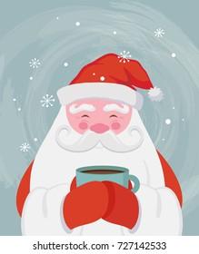 Santa drinking a hot drink at winter scenary. Vector christmas illustration