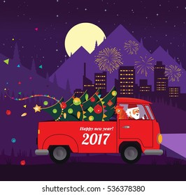Santa drive car with New year symbol rooster. Santa truck with christmas tree