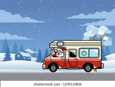 santa driving rv truck for holiday