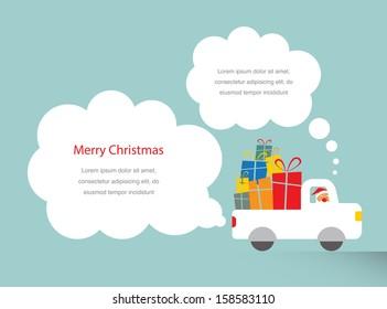 santa driving a trank full of presents