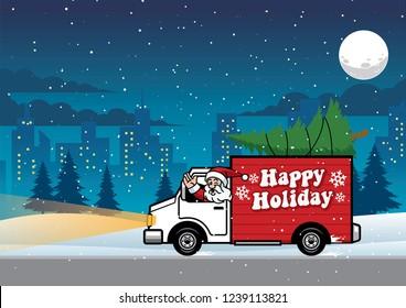 santa driving truck in the night
