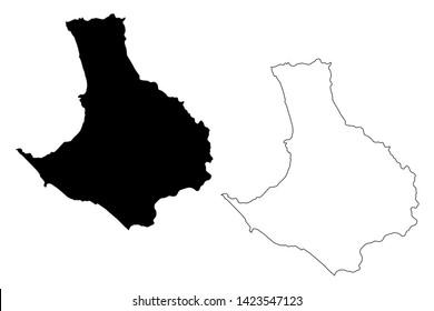 Santa Elena Province (Republic of Ecuador, Provinces of Ecuador) map vector illustration, scribble sketch Santa Elena map