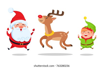 Santa and elf cartoon characters jumping high with deer animal vector illustration postcard isolated on white background. Happy fairy-tail persons vector