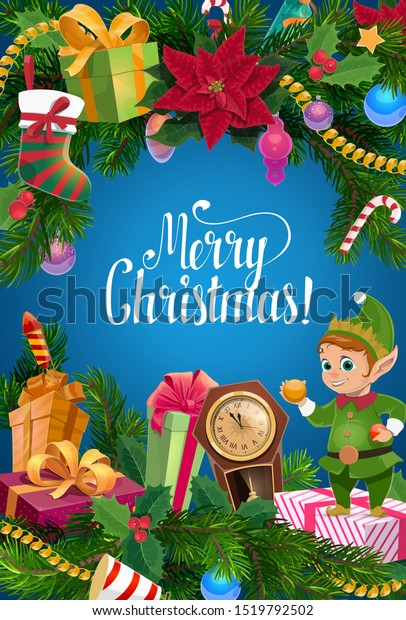 Santa elf with Christmas gifts and New Year garland vector design. Xmas tree and holly branches, decorated with presents, stocking and balls, ribbon bows, poinsettia and candies, clock and fireworks
